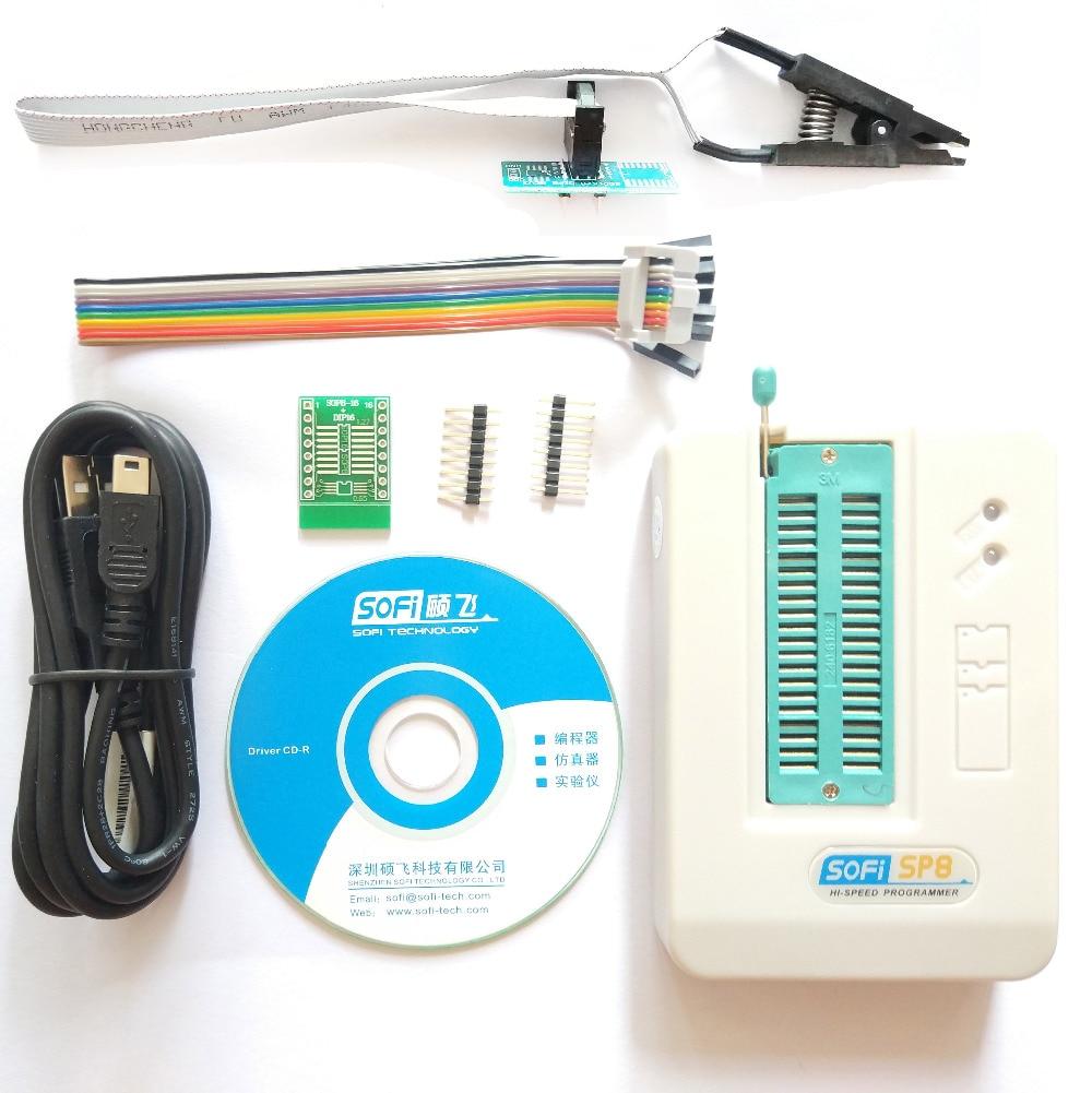 SOFI SP8-A SOP8 pince pince 93/24/25/BR90/SPI USB programmeur EEPROM BIOS IC prise adaptateur