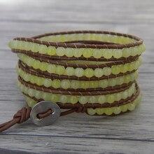 Wrap bransoletka z koralików leather wrap bransoletka z paciorkami 5 wrap bransoletka bransoletka boho yoga żółty koralik biżuteria
