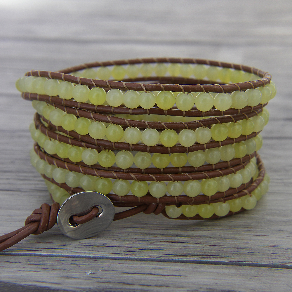 wrap bracelet bead leather wrap beaded bracelet 5 wrap bracelet boho bracelet yoga yellow bead Jewelry-in Wrap Bracelets from Jewelry & Accessories