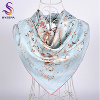 [BYSIFA] Новый Синий Шелковый шарф, шаль, 2019высший сорт, белый кран, дизайн, саржа, большие квадратные шарфы, Осень-зима, шейный шарф, хиджаб 90 см