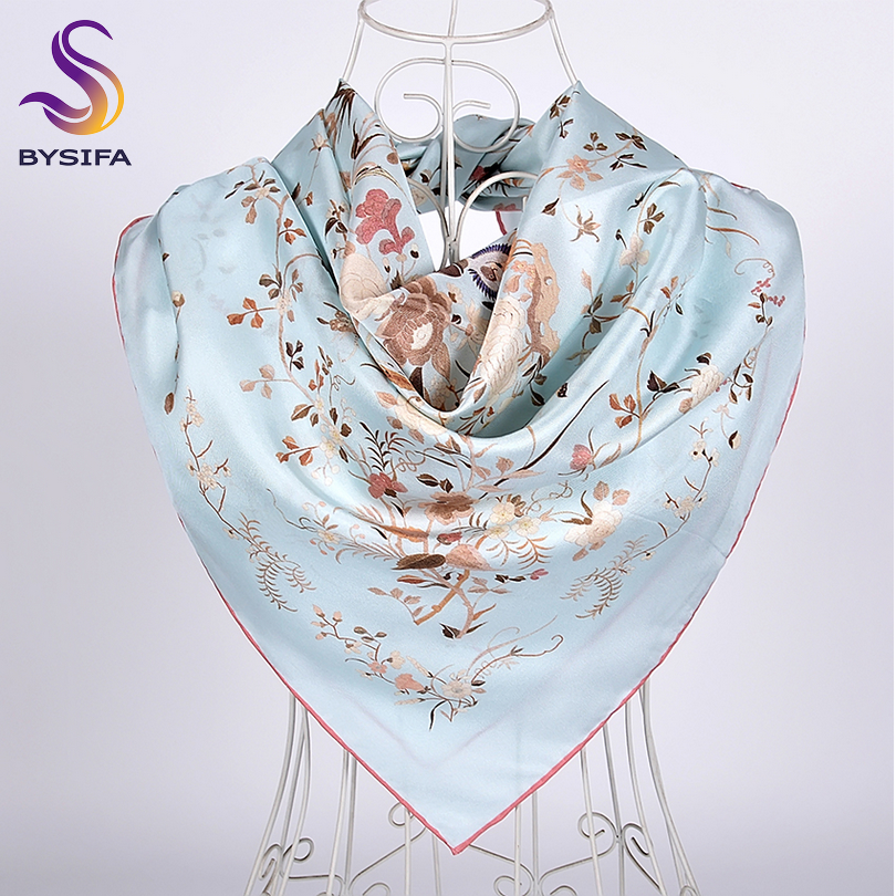 [BYSIFA] New Blue Silk Scarf Shawl 2019Top Grade White Crane Design Twill Large Square Scarves Fall Winter Neck Scarf Hijab 90cm