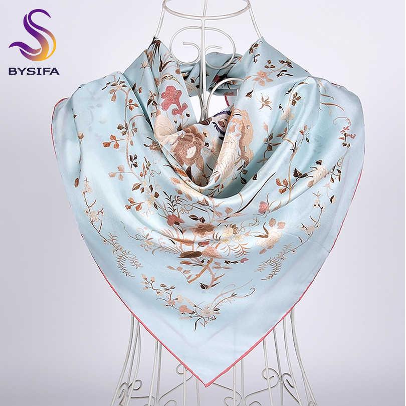 [BYSIFA] Neue Blau Silk Schal Schal 2019Top Grade Weiß Kran Design Twill Großen Quadratischen Schals Herbst Winter Hals schal Hijab 90cm