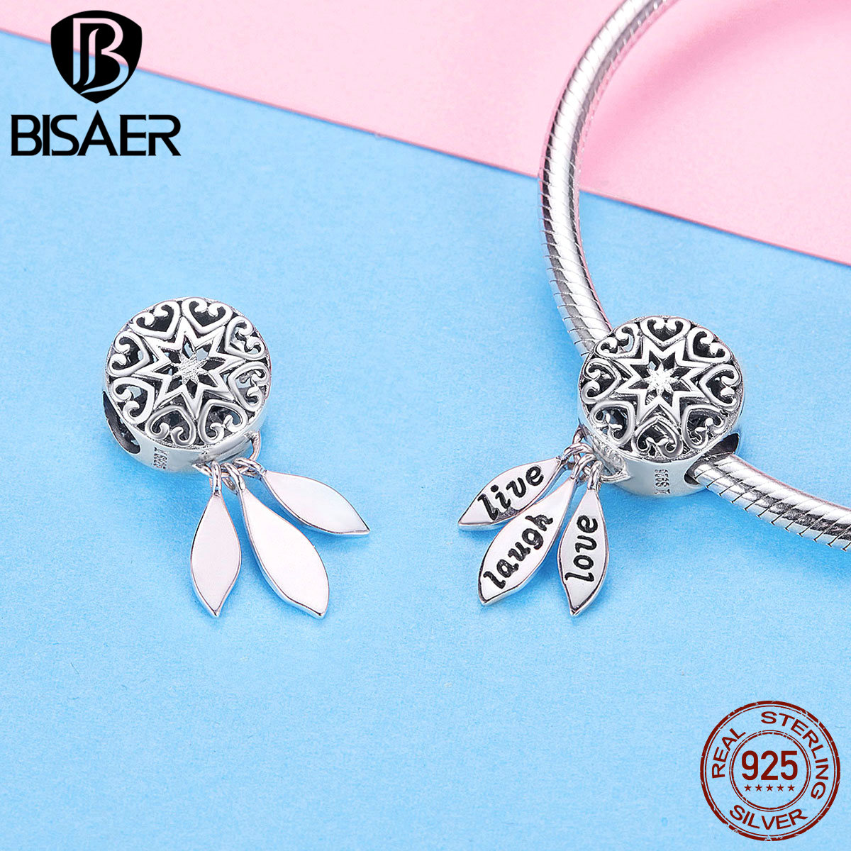"""925 FASHION AUTHENTIC BRACELET WITH /""""LOVE STORY/"""" EUROPEAN CHARMS SILVER"""