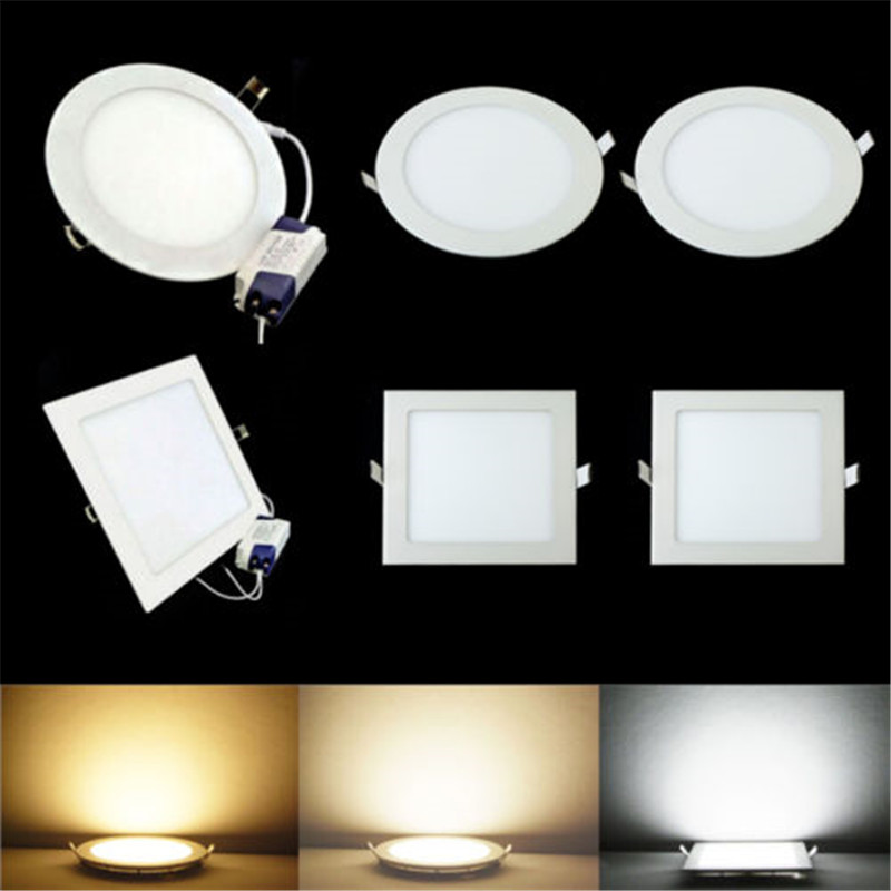 LED Downlight Recessed Kitchen Bathroom Lamp 85-265V 25W Round/Square LED Ceiling Panel Light Warm/Natural/Cool White Free Ship(China)
