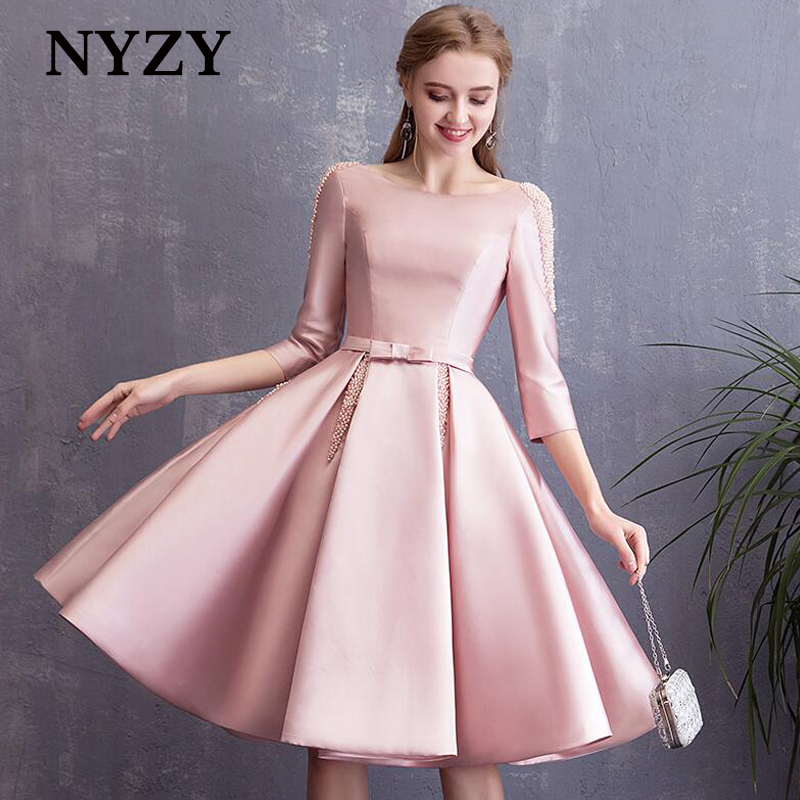 Elegant Pearls Backless Robe Cocktail Dress 2019 NYZY C176 Pink 1/2 Sleeves Pocket Satin Dress Party Graduation Homecoming