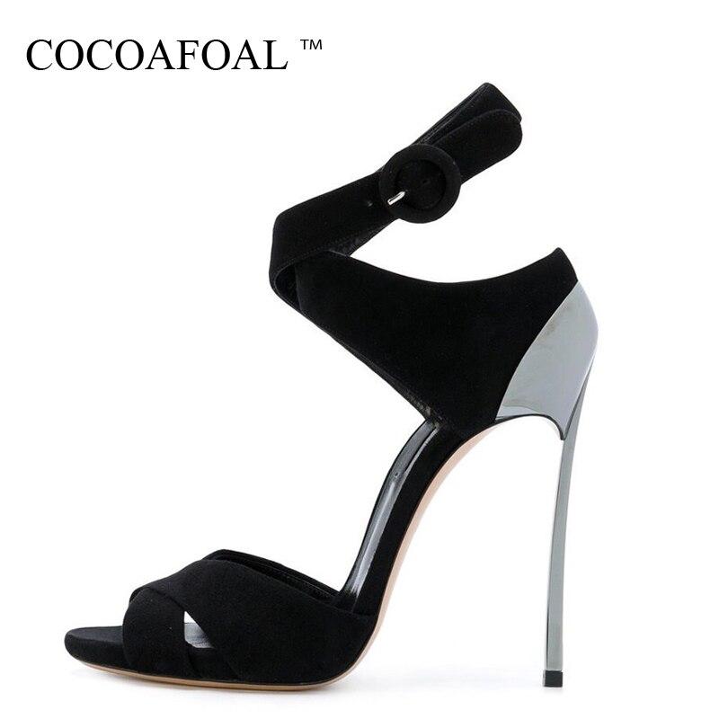 854df886849 COCOAFOAL Для женщин Мода Высота каблука сандалии плюс Размеры 33 43  Гладиатор Свадебная обувь вечерние пикантные