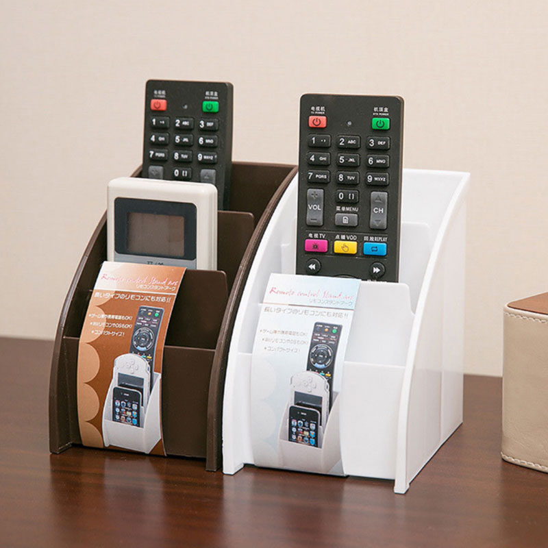 Plastic White/Brown <font><b>Remote</b></font> Control Holder Desktop Storage Case Remot Storage Holder Organiser Storage <font><b>Rack</b></font> Table Practical image