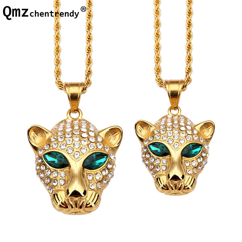 hiphop Gold Iced Out Green Eyes Gem Stone fierce Animal leopard Pendant  Necklace Hip Hop Jewelry For Men Women Best Gift d6eac55a923a