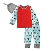 Autumn Newborn Boys Clothes Set Fox Pattern T-shirt Tops+Printing Pants+Hat Casual Outfits Kids Bebes Jogging Suit Tracksuit