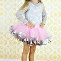 2016 Вуаль Пушистые Маленькая Девочка Юбки С Атласной лента Отделка Сшиты Пышная Юбка Балетной Пачки Младенца для 0-7 лет старый