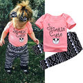 0-3Y Newborn Baby Girls Clothes Cute Bebes Short Sleeve T-Shirt Top + Pant 2pcs Outfit Kids Clothing Set