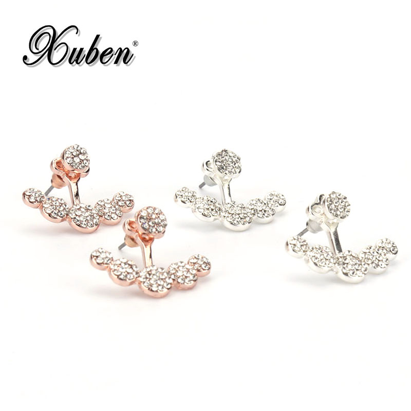 2018 new white Crystal Stud Earring for Women Rose gold color Double Sided Fashion Jewelry Earrings female Ear brincos