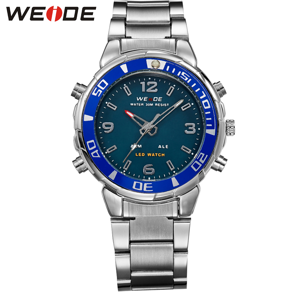 ФОТО WEIDE New Fashion Mens Stainless Steel Watches Top Brand Luxury 30m Waterproof Analog Digital Display Relogio Masculino