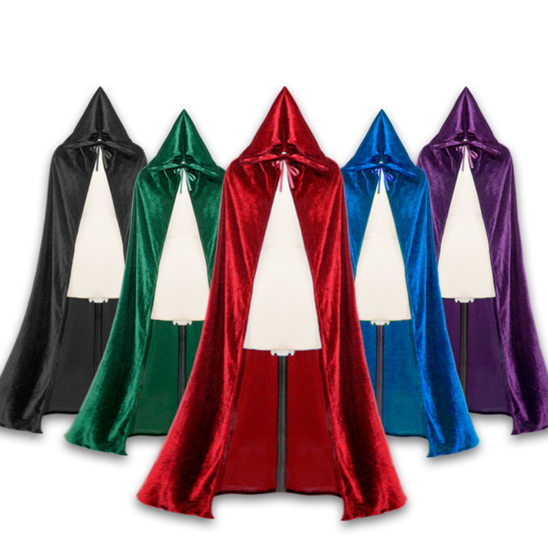 Halloween Party Kids Vampire Cosplay Cape Witch Long Cloak Hood Capes Gothic Heroic adult Cloak