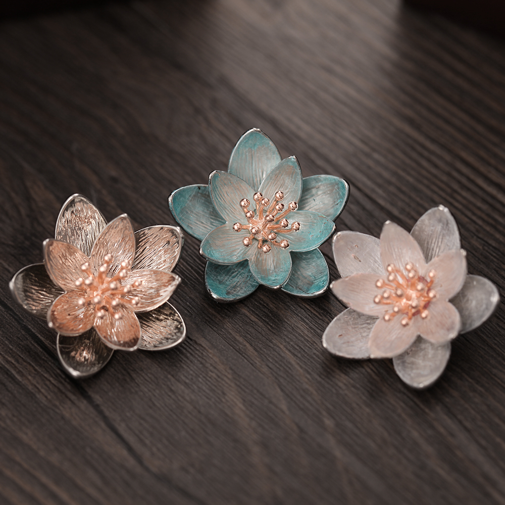1pcs High Quality 18mm Snap Button Jewelry Big Lotus Flower Snap