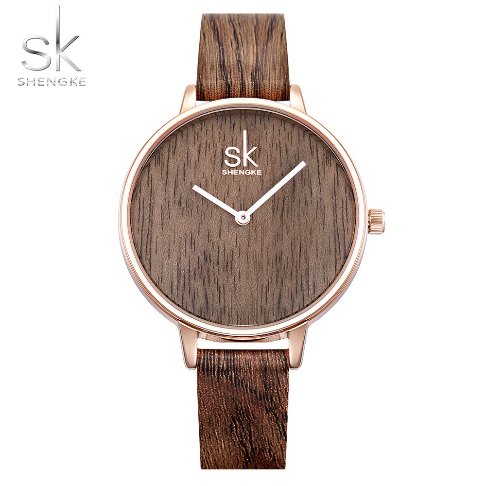 Shengke 2018 New Creative Women Watches Casual Fashion Wood Leather Watch Simple Female Quartz Wristwatch Relogio Feminino