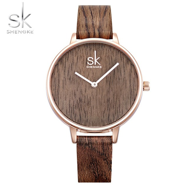 Shengke 2018 New Creative Women Watches Casual Fashion Wood Leather Watch Simple