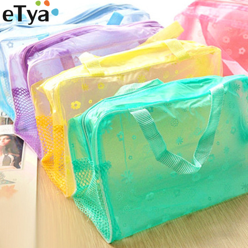ETya Fashion Makeup Bag PVC Floral Transparent  Cosmetic Bag Toiletry Wash Make Up Bag Pouch Travel Necessarie Organizer Bag