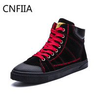 CNFIIA Men Shoes Sneakers Summer 2018 New Skate Shoes Man Black Red Footwear Male Casual Canvas Sneakers Walking High Top Brand
