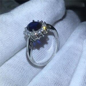 Image 3 - Vecalon güzel takı 100% gerçek 925 ayar gümüş yüzük 5A mavi zirkon Cz Diana nişan düğün Band yüzük kadınlar için gelin