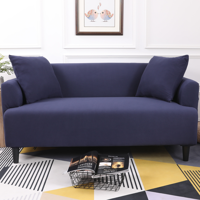 Navy Blue Solid Color Tight All Inclusive Sofa Cover Stretch Sofa ...