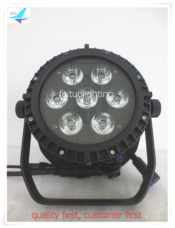 free shipping 4pcs/lot LED Par Can Waterproof Stage DJ Par Light 7x15w 5IN1 RGBWA Strobe DMX IP65 Outdoor Par 64 Disco Lighing