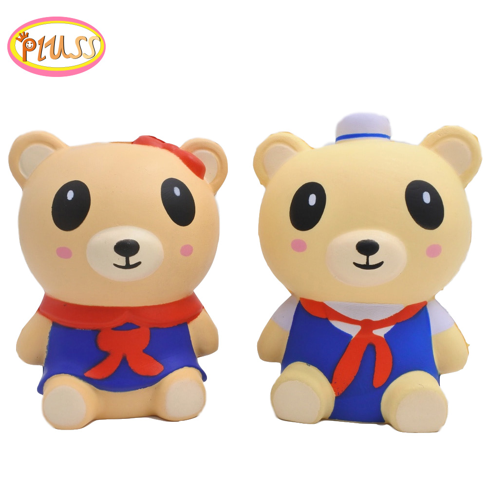 Squishy Animals Cute Navy Bear Squishies Slow Rising Squishi Scented Stress Relief Squeeze Soft SquishieToys For Kids