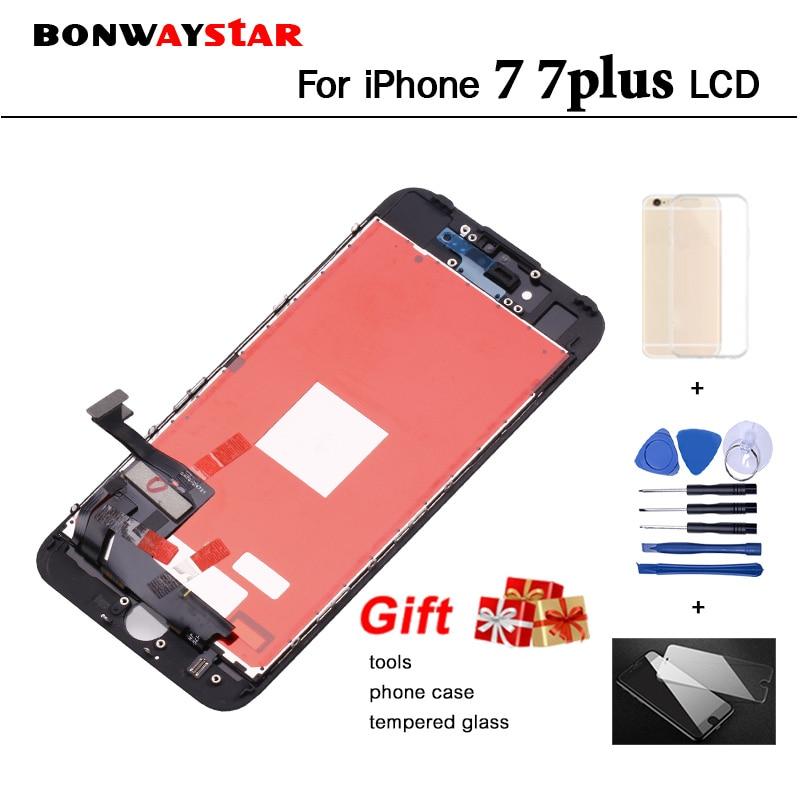 LCD de reemplazo para iPhone 7 7 plus de Pantalla táctil capacitiva de Pantalla digitalizador para el iPhone 7 Ecran Pantalla con 3 regalos