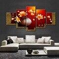 5 unidades de Magnolia florero pintura al óleo lienzo de pared cuadros para la sala de estar pinturas cuadros decorativos (no frames)