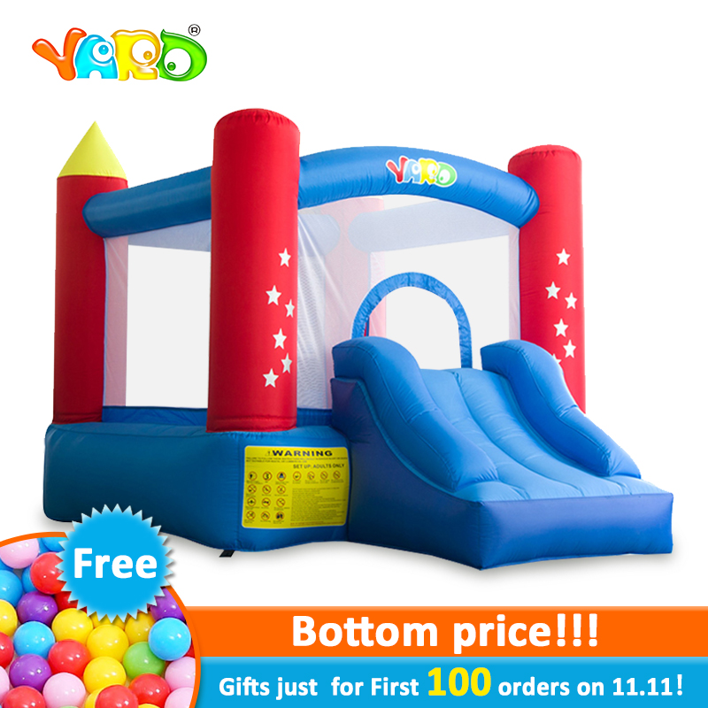 YARD Residebtial Inflatable Castle House Trampoline Jumping With Slide Blower For Kids Inflatable Games Bouncer Outdoors giant dual slide inflatable castle jumping bouncer bouncy castle inflatable trampoline bouncer kids outdoor play games