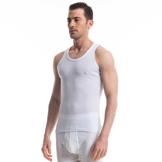 THREEGUN Brand Men Casual Undershirts Cotton Slim Fit Men Undershirts Bodybuilding Gold Fitness Male Slim Bottoming Underwear