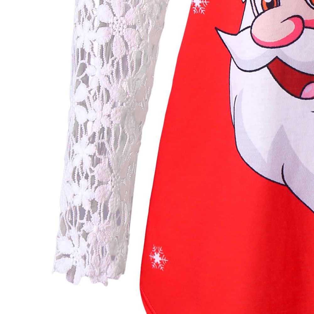 Wipalo חג המולד בתוספת גודל Sheer תחרה לקצץ סנטה קלאוס טוניקת חולצה Cutwork ארוך שרוול אסימטרית נשים טי למעלה גדול גודל 5XL