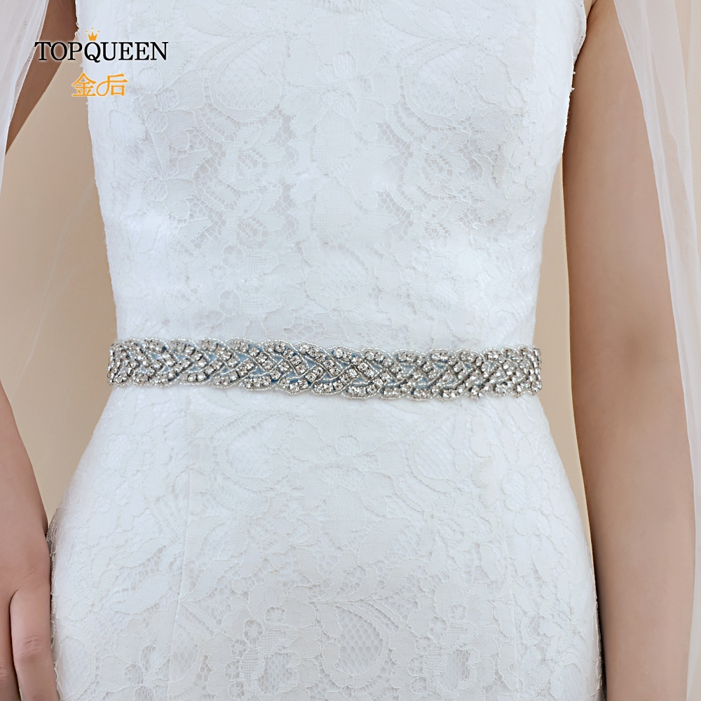 TOPQUEEN S216 Women's Rhinestones Handmade Wedding Evening Party Gown Dresses Accessories Bridal Sashes Can Customize Any Size