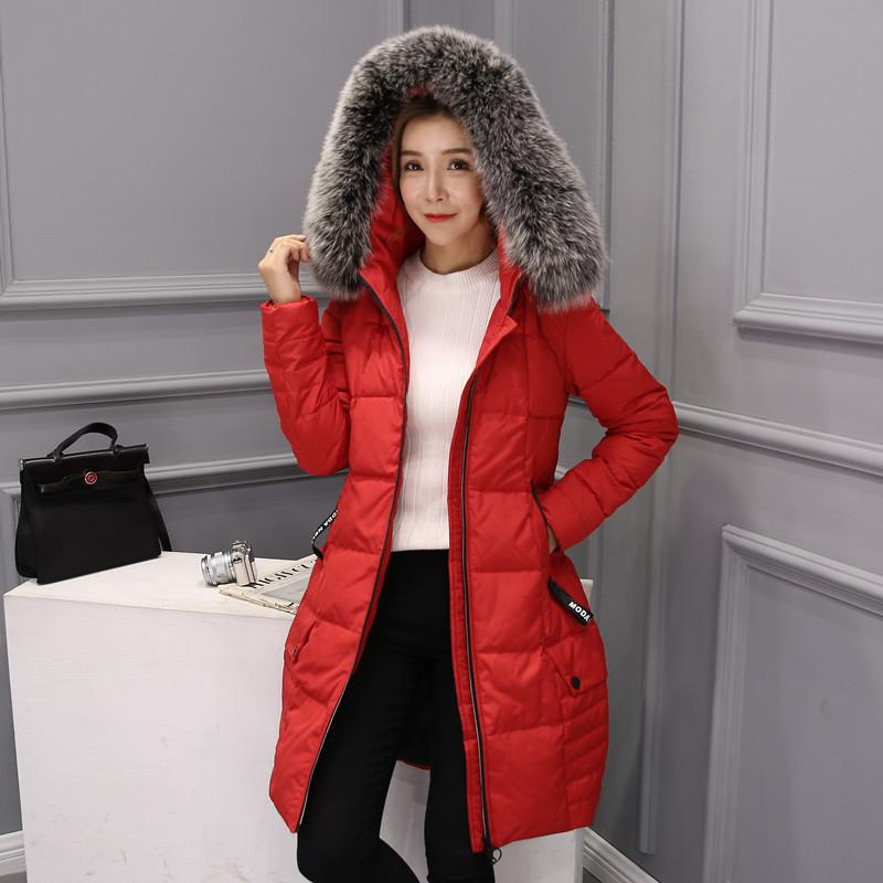 Winter Jacket Women Fur Collar Long Thicken White Duck Down Jackets hooded Warm Snow Outerwear Down Coats Parkas DQ172338 2016 new hot winter thicken warm woman down jacket coat parkas outerwear hooded raccoon fur collar long plus size straight cold