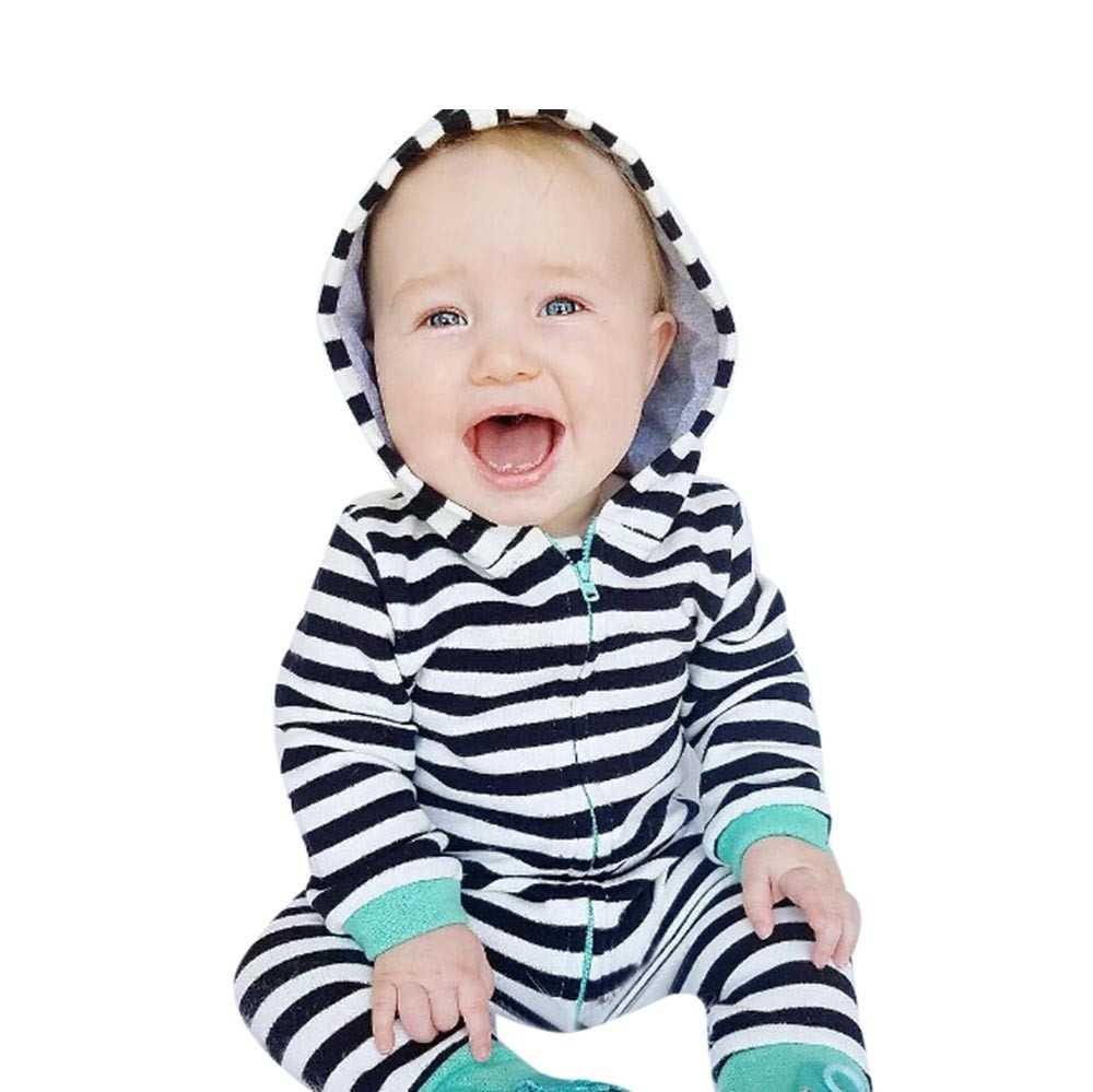 Новинка 2018 года; одежда для маленьких мальчиков и девочек; черный комбинезон с капюшоном на молнии для новорожденных мальчиков и девочек; комбинезон
