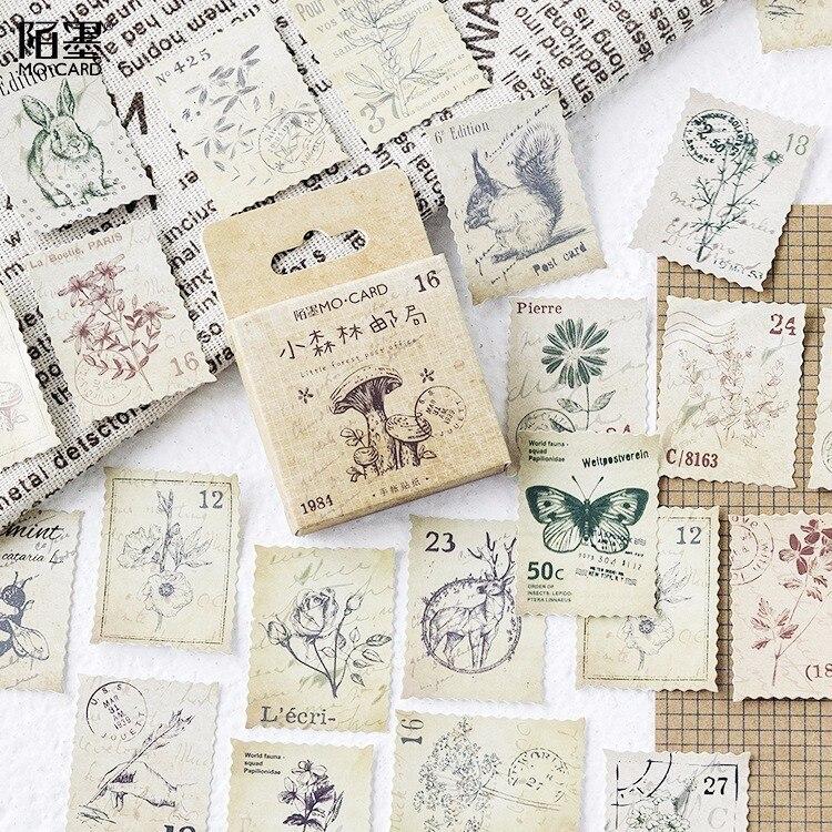 46 шт./кор. новая маленькая бумажная этикетка для дневника лесной почты, герметизирующие наклейки для рукоделия, скрапбукинга, Декоративные Канцтовары Lifelog Канцелярские наклейки      АлиЭкспресс