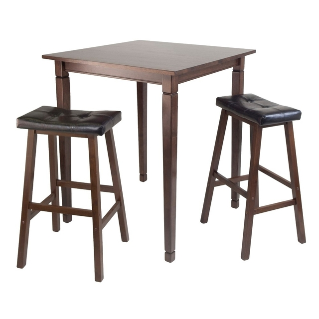 Kingsgate High Pub 3pc Dining Table With Cushioned Saddle Stool By Winsome Woods
