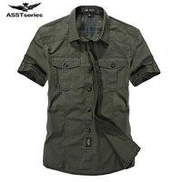 AFS JEEP Brand Men Shirt Short Sleeve Shirt Men S Casual Cottton Solid Color Shirt Quality