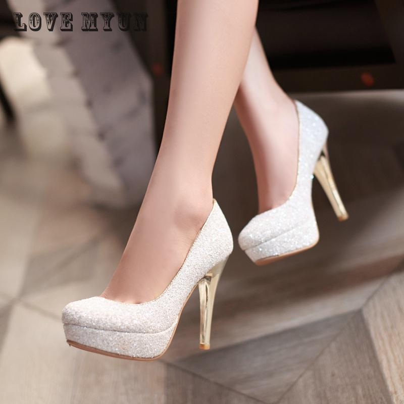 2017 Glittering Fashion sexy party high heel summer women Pumps Wedding shoes lady Pump spool heels black white gold plus size тачка садовая зубр 90л 39901