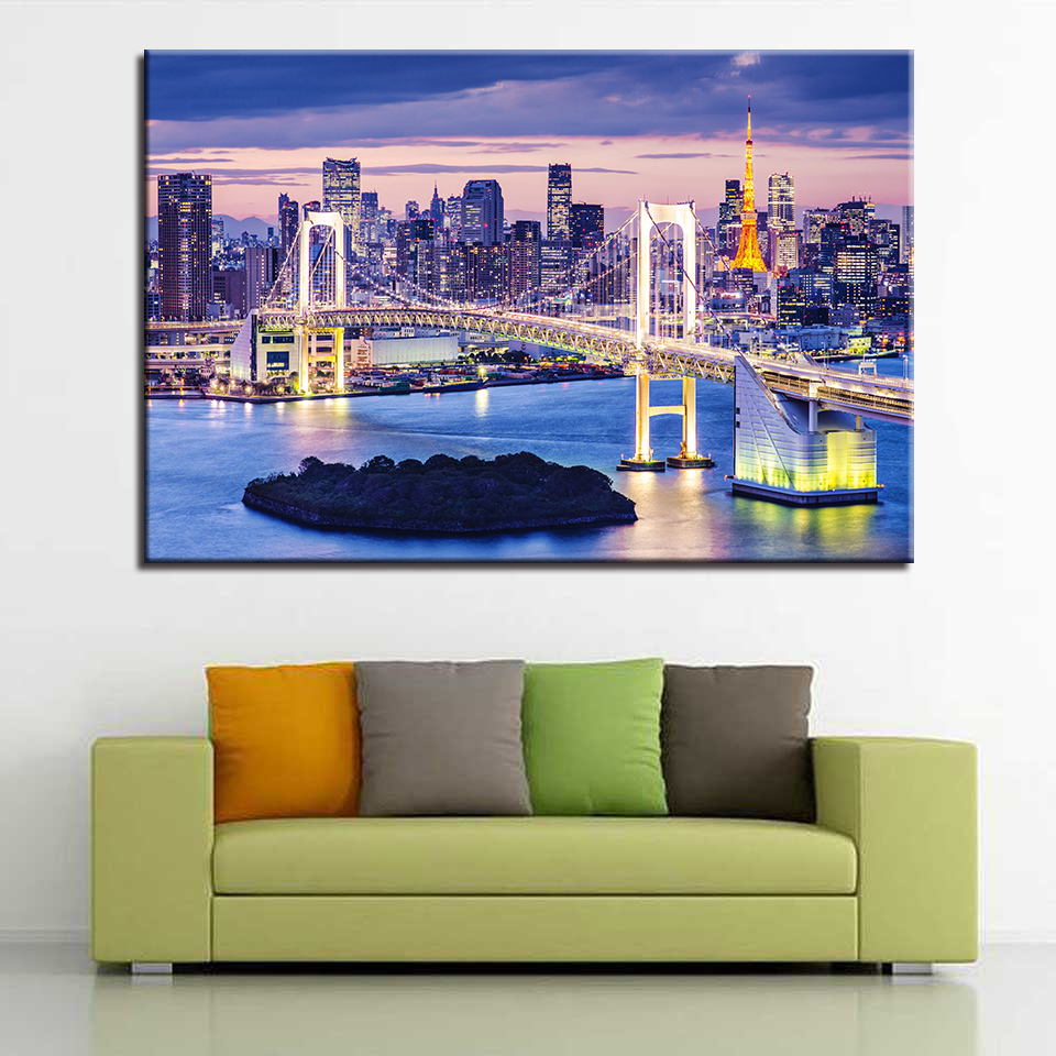 1 Piece Rainbow Bridge Tokyo Night Painting Home Decor Living Room Or Kitchen Landscape Picture Modern Artwork Canvas Print Type in Painting Calligraphy from Home Garden