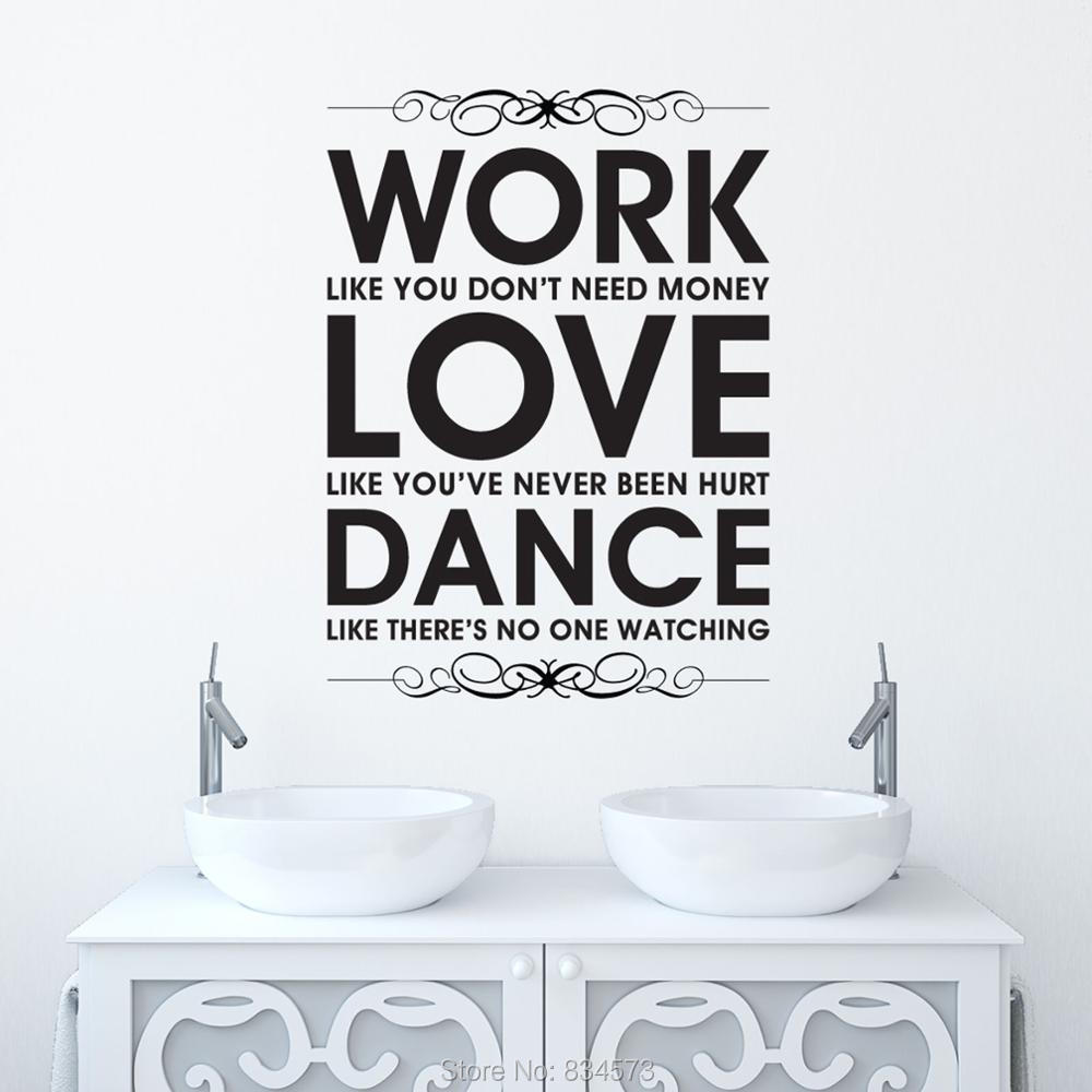 aliexpress com buy work love dance quote inspirational wall art aliexpress com buy work love dance quote inspirational wall art sticker decal home diy decoration wall mural removable bedroom decor wall stickers from