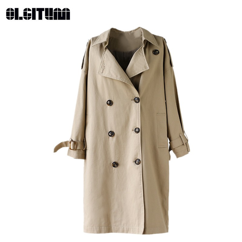 Long Loose Waist   Trench   for Female New Autumn Retro Solid Women's Windbreaker High Quality Lady   Trench   Coat with Belt TR102