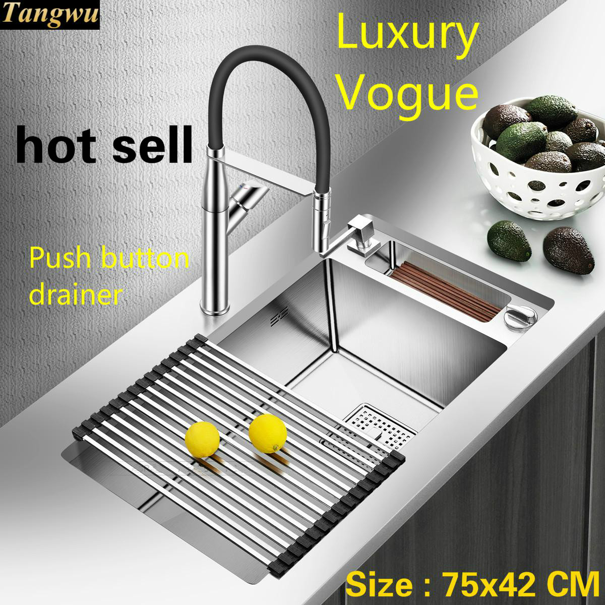 Free Shipping Household Big Kitchen Manual Sink Single Trough Dish Washing Durable 304 Stainless Steel Luxury Hot Sell 75x42 CM