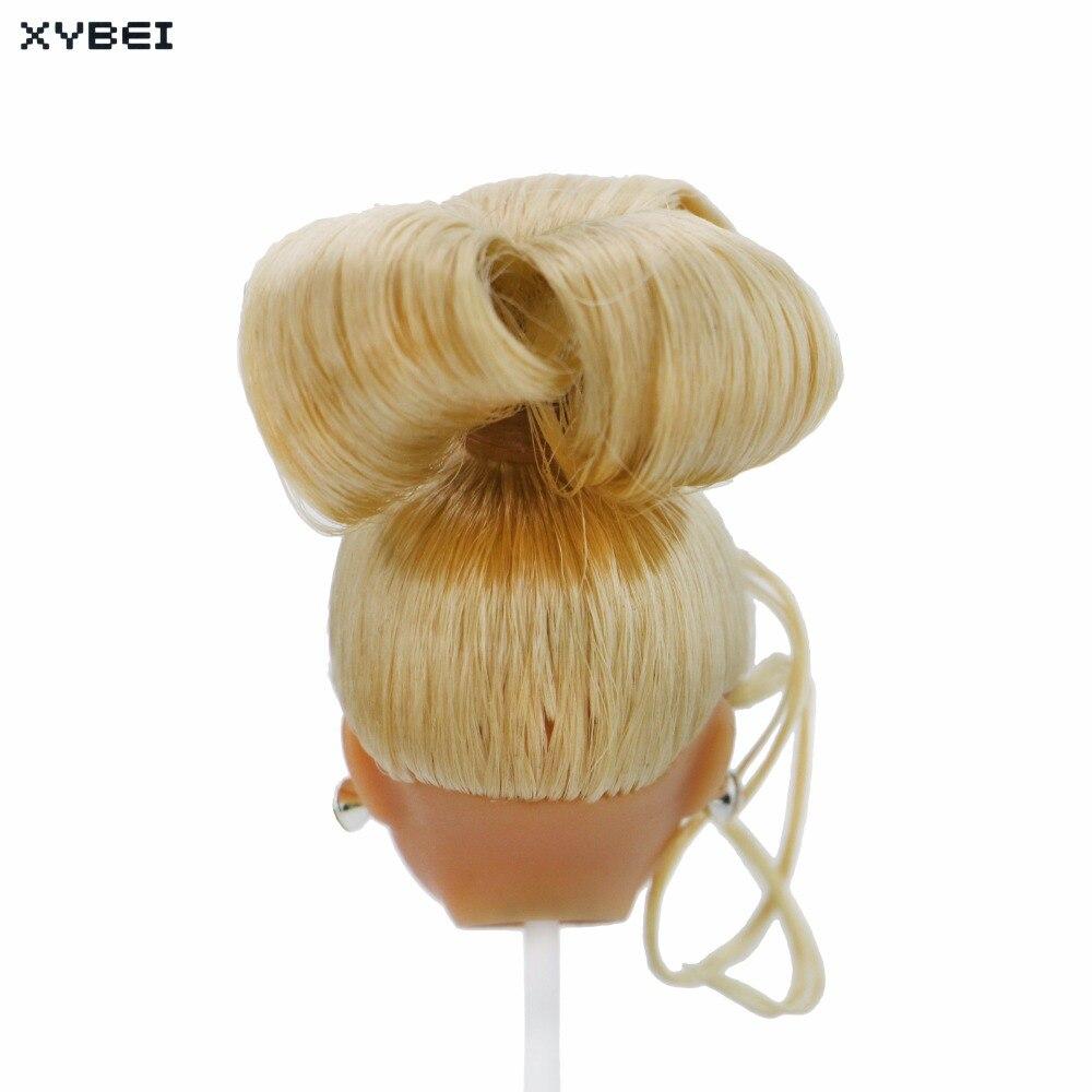 2 Pcs/Lot = 1x Blonde Updo Hair Red Lips Long Eyelash Doll Head + 1x Fashion Random Earrings Accessories For 1/6 12 Doll Gift