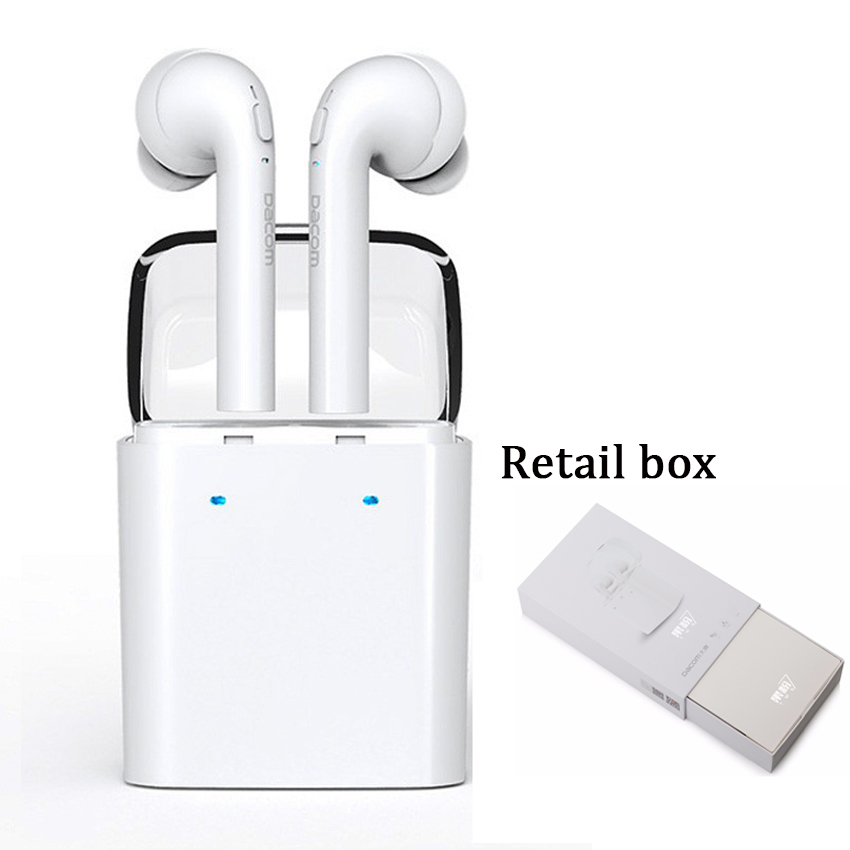 Dacom Wireless Technology Bluetooth Headset Sport Stereo Earphone With Charging Box For iphone 7 7plus And Intelligent Phone 2017 new stereo wireless bluetooth 3 0 handsfree headset earphone with charging cable for iphone 6 samsung