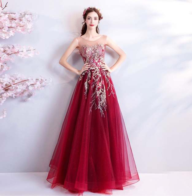 Abiti Da Sera Vendita Online.Online Shop Evening Dress 2019 Long Red Formal Dress Women Elegant
