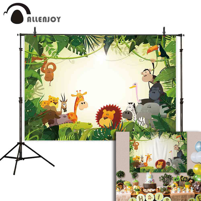 Allenjoy photography background for photo cartoon animal green leaves forest cute baby child Jungle party backdrop wall-paper