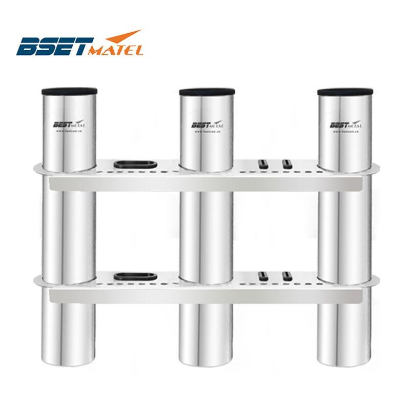 BSET MATEL 3 Tubes Link stainless steel 316 fishing rod holder fishing rod rack socket for