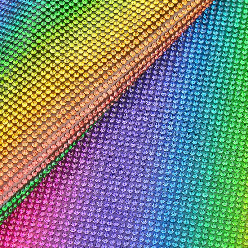 7bbc634c65 JUNAO 24*40cm Hotfix Mix Color Rhinestones Fabric Sheet Glass Mesh Trim  Crystal Applique Banding For DIY Dress Jewelry Crafts