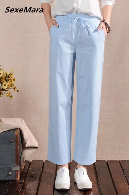 Frete Grátis Coreano Hot Sale Lazer Cintura Alta Pure Color Algodão Linho Mulher Calças Perna Larga (não Azul)